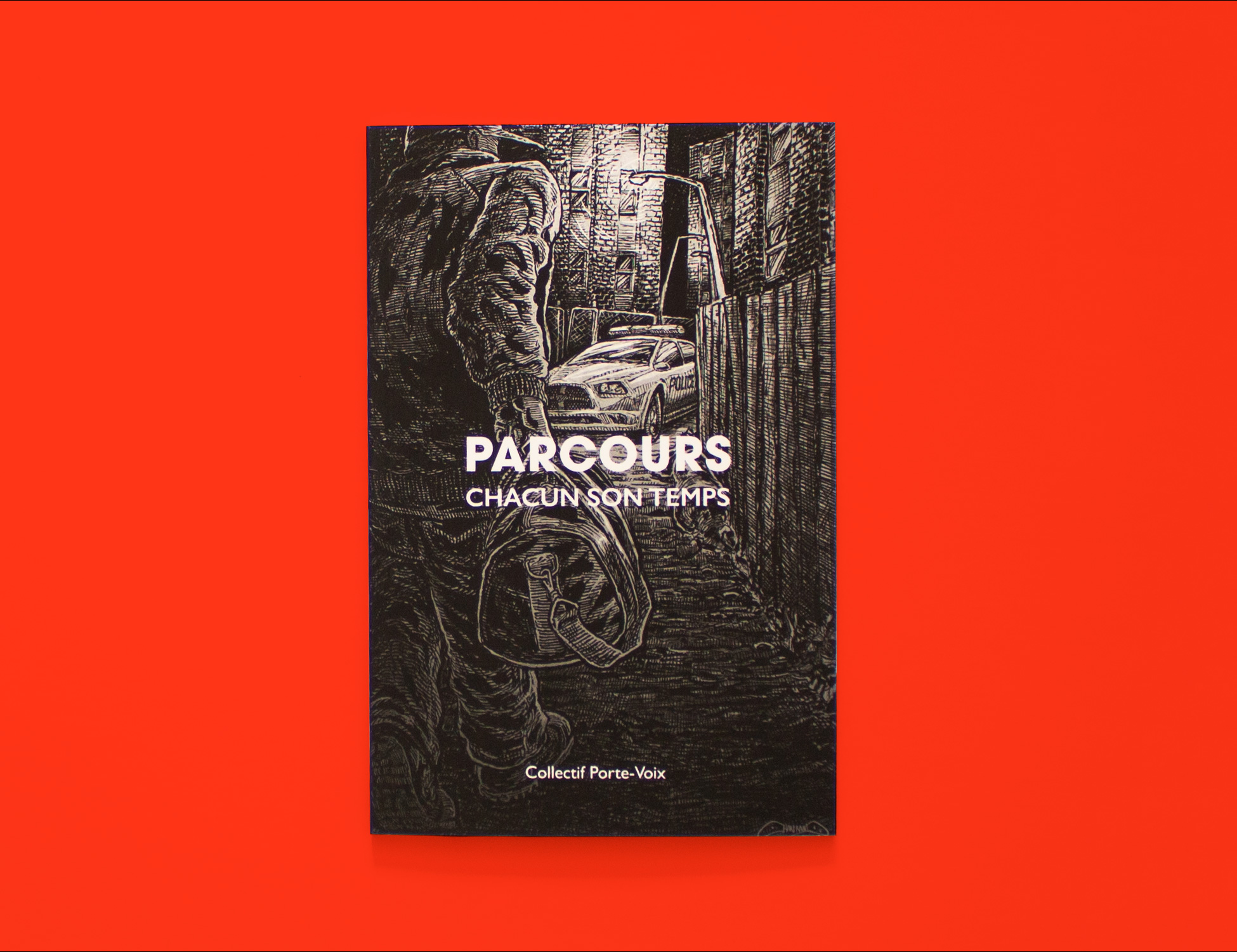 Cover of Parcous: Chacun son temps. It is an ink illustration of a young person being taken into detention. We see the young person carrying a bag and heading towards a police car.