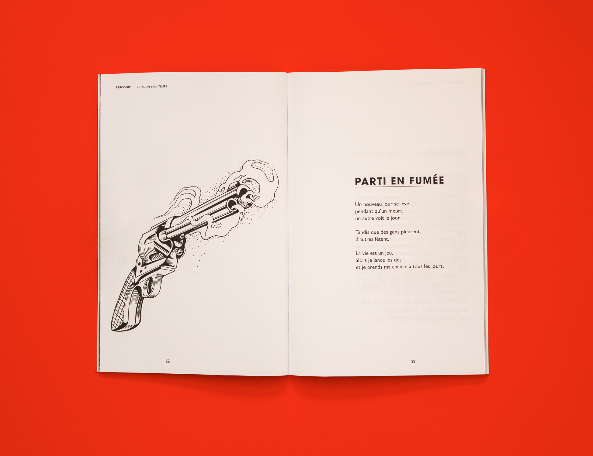 """Spread from Parcous: Chacun son temps. The left page shows an ink illustration of a recently fired gun, with smoke coming out of the muzzle. The right page is a short poem titled """"Parti en fumée."""""""