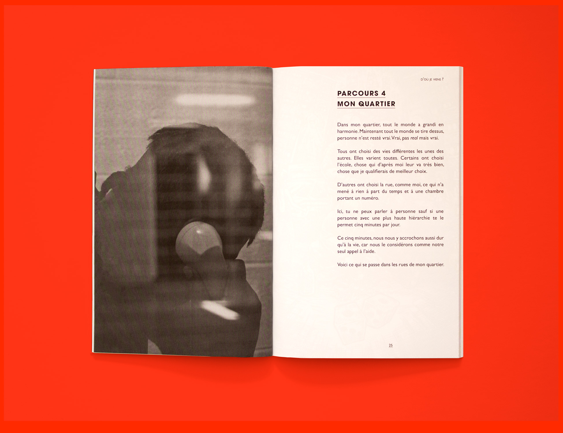 Spread from Parcous: Chacun son temps. The left page is a photograph of a young person talking on a phone. The photo is taken from behind a glass. The right page is a short prose text written by youth living in Cité des Prairies.
