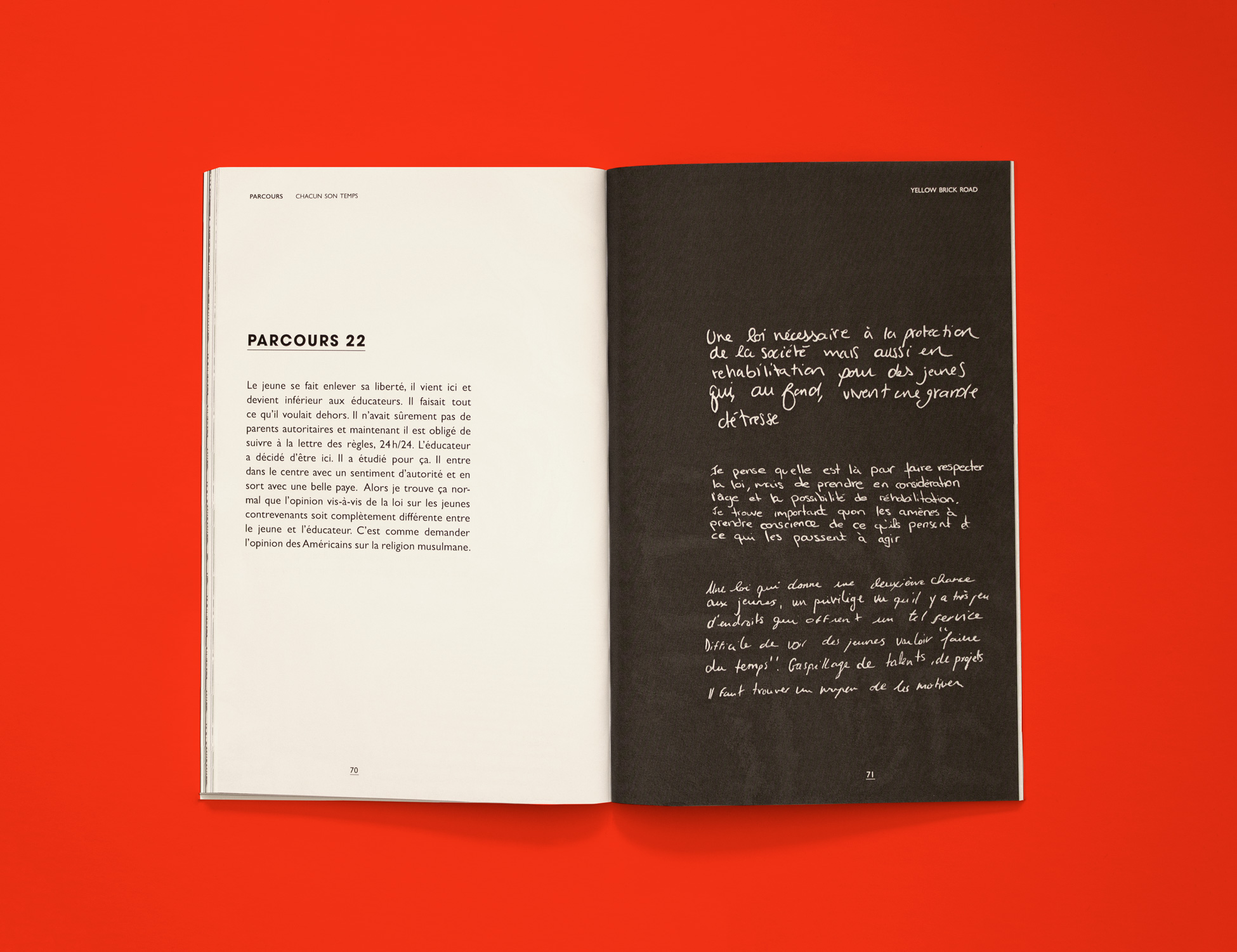 Spread from Parcous: Chacun son temps. The book is opened on a short prose poem (left page) and a series of handwritten statements (right page) by young people in Montreal's youth center Cité des Prairies.