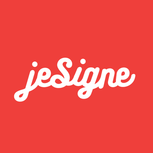 JeSigne logo (white on red background version)