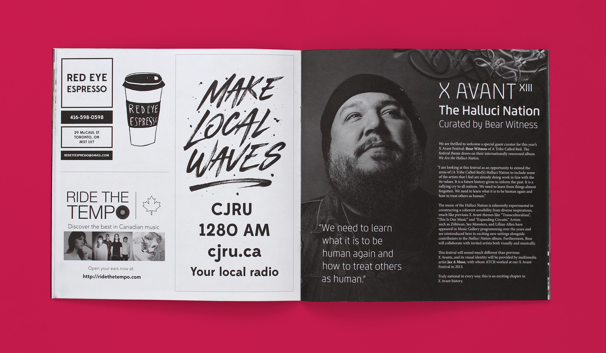 Sample spread from winter program guide. The right page shows a statement and photo of Bear Witness from a Tribe Called Red. The left page features ads from Red Eye Espresso, Ride the Tempo and Make Local Waves