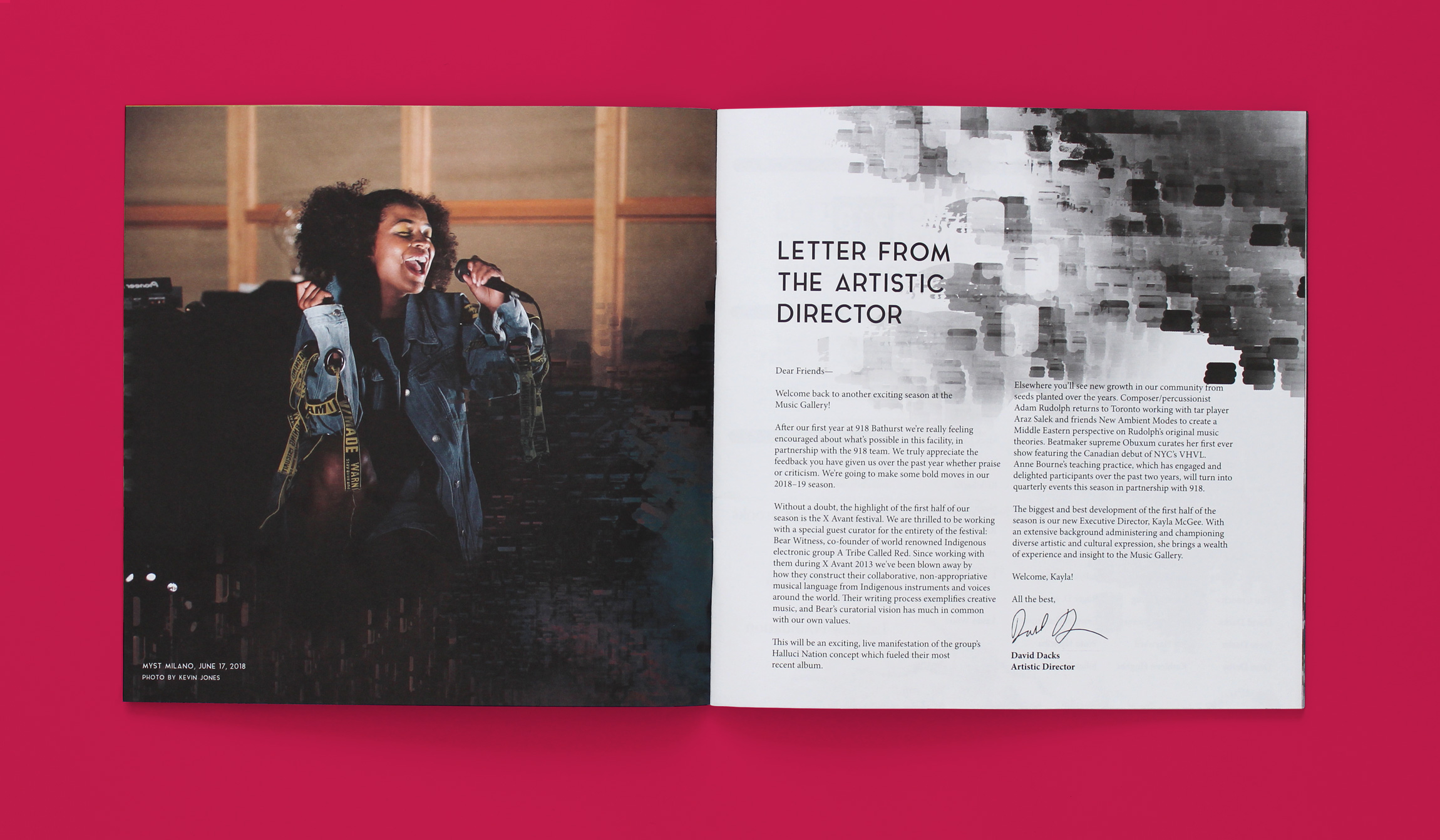 Sample spread showing the Letter from the Artistic Director (right page) and a full-page photo of Myst Milano singing at a Music Gallery concert(left page).